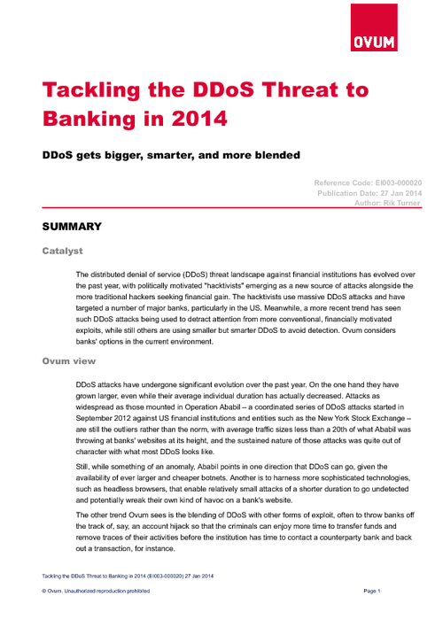 Tackling the DDoS Threat to  Banking in 2014