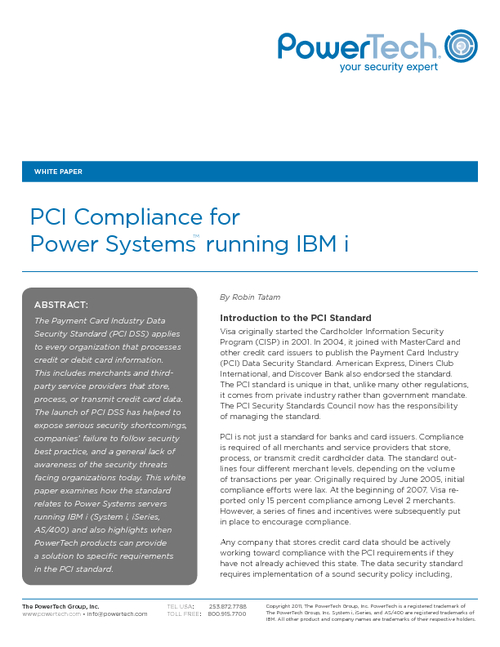 PCI Compliance Best Practices for Power Systems running IBM i