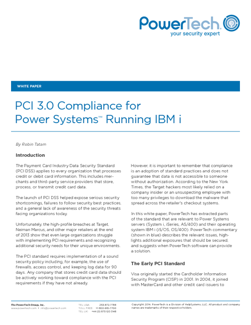 PCI 3.0 Compliance for Power Systems Running IBM i