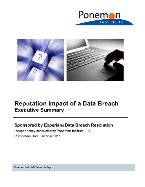 Ponemon Institute Study: Reputation Impact of a Data Breach
