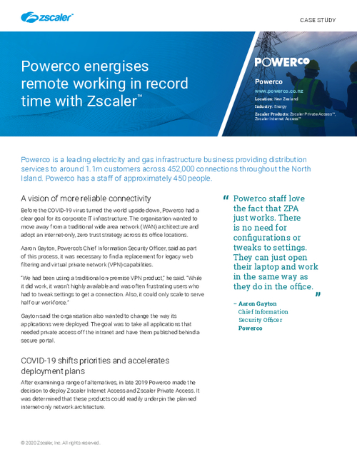 Powerco energises remote working in record time with Zscaler