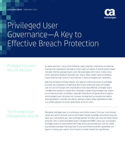 Privileged User Governance - A Key to Effective Breach Protection