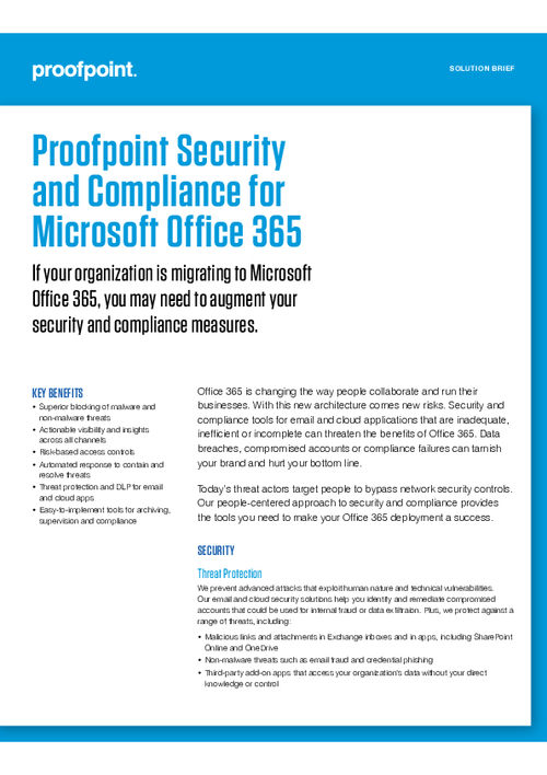 Proofpoint Security and Compliance for Microsoft Office 365