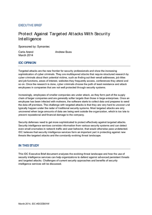 Protect Against Targeted Attacks With Security Intelligence