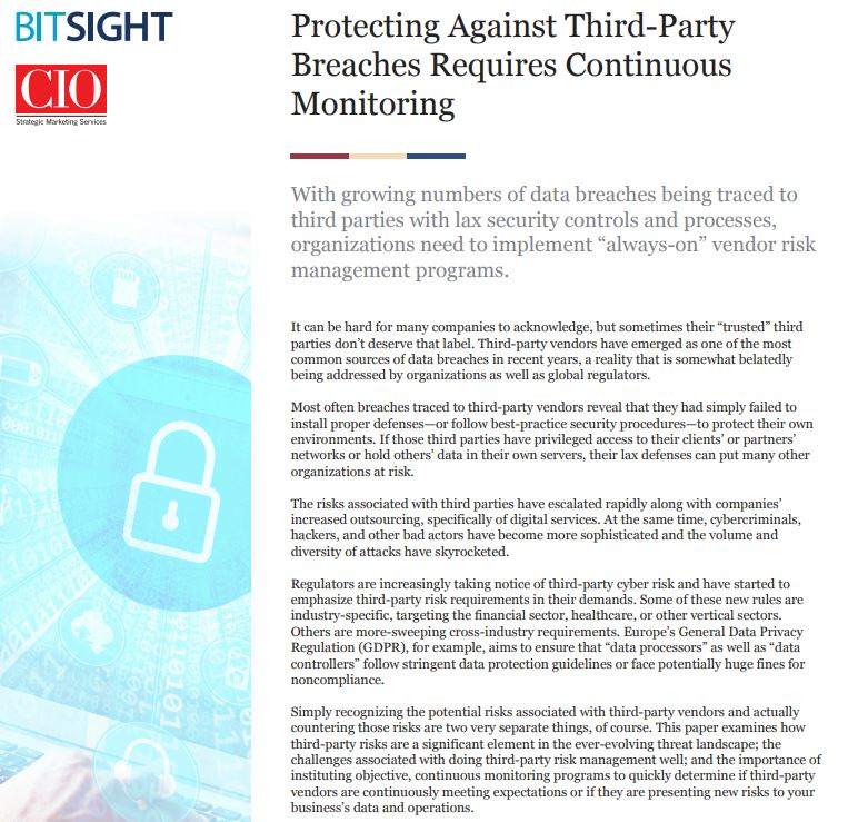 Protecting Against Third-Party Breaches Requires Continuous Monitoring