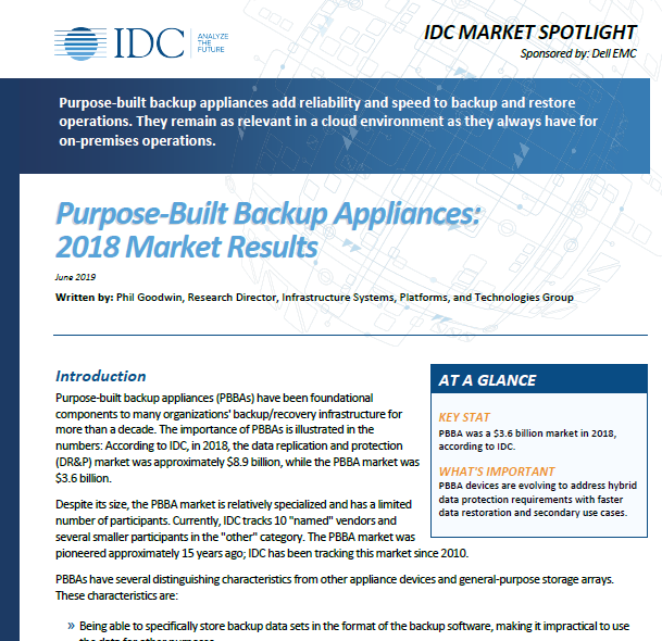 Purpose-Built Backup Appliances: 2018 Market Results