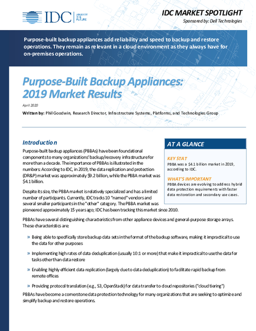 Purpose-Built Backup Appliances: 2019 Results and 2020 Concerns
