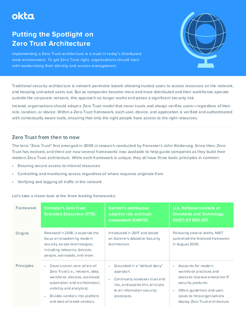 Putting the Spotlight on Zero Trust Architecture