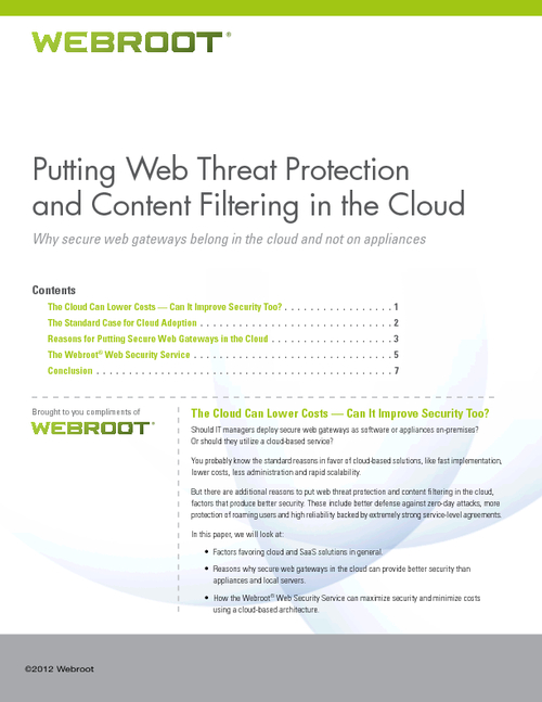 Putting Web Threat Protection and Content Filtering in the Cloud