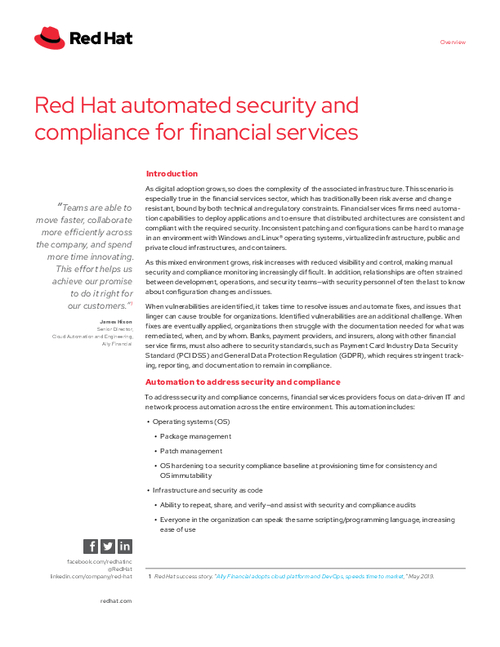 Red Hat Automated Security and Compliance for Financial Services