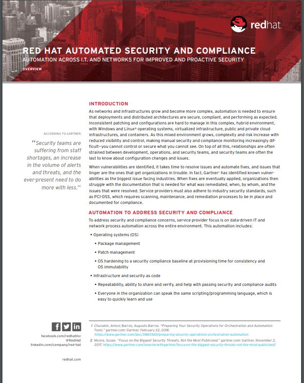 Red Hat Automated Security and Compliance