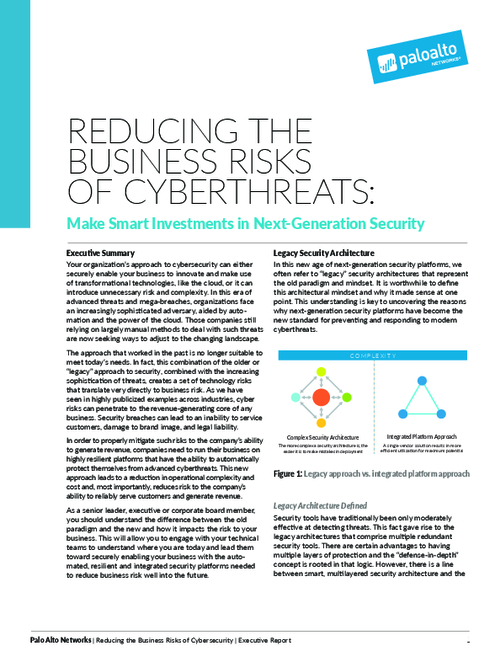Reducing the Business Risks of Cyberthreats
