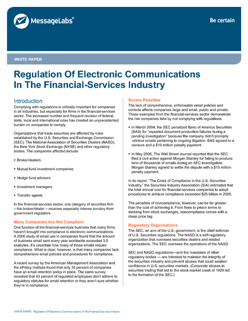 financial regulation Increased regulation isn't just a temporary challenge for global financial institutions–it's the new reality new research from thomson reuters published in its q3 trust index shows that the global uptick in financial regulation continued to gain momentum during the third quarter of 2013.