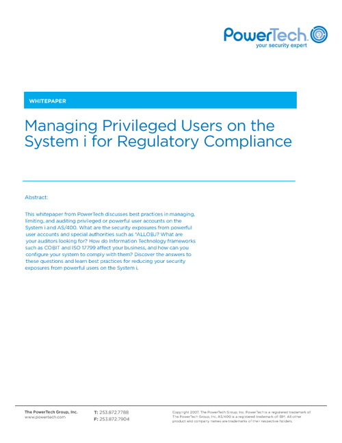 Regulatory Compliance - Managing Privileged Users on the AS/400 (System i)