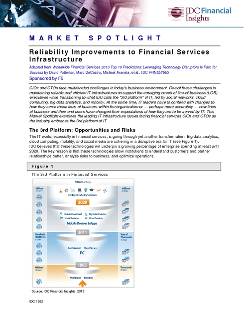 Reliability Improvements to Financial Services Infrastructure