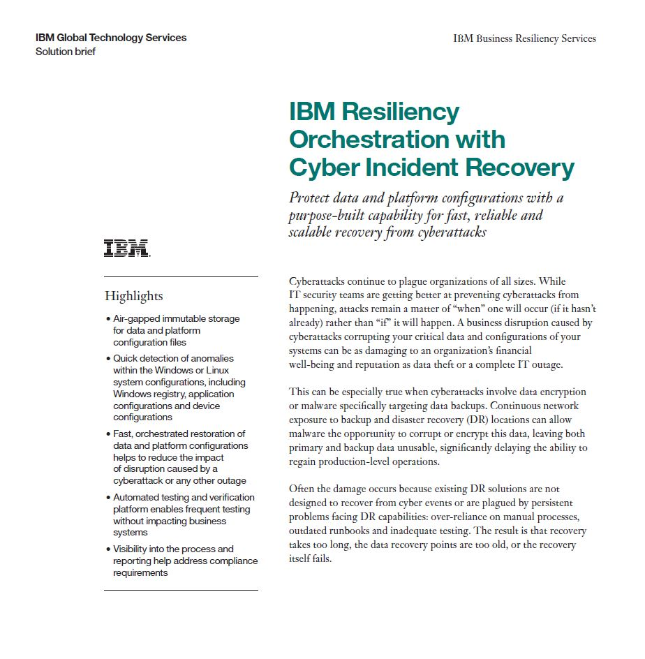Resiliency Orchestration with Cyber Incident Recovery