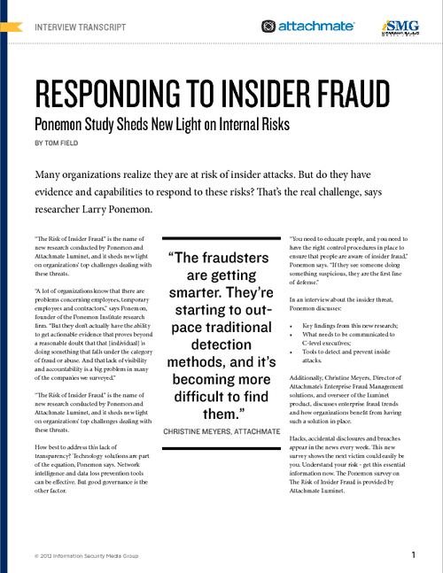 Responding to Insider Fraud: Insights on New Study of Internal Risks