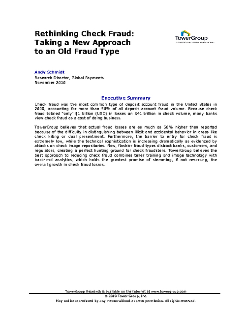 Rethinking Check Fraud: Taking a New Approach to an Old Fraud Type