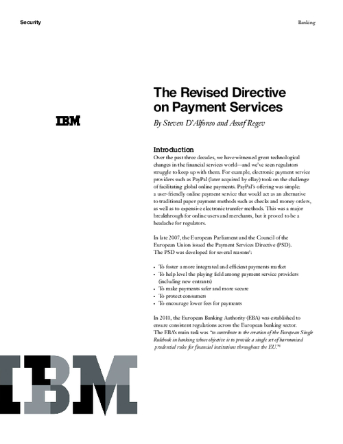 The Revised Directive on Payment Services