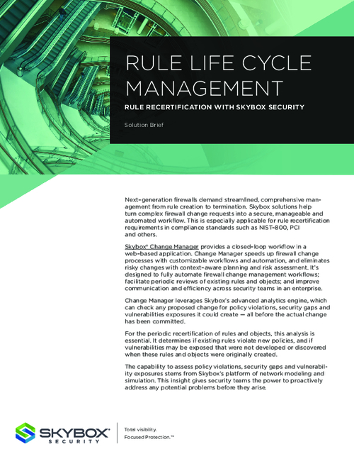 Rule Life Cycle Management