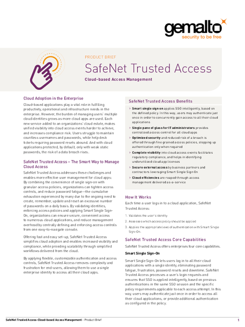 SafeNet Trusted Access Product Brief