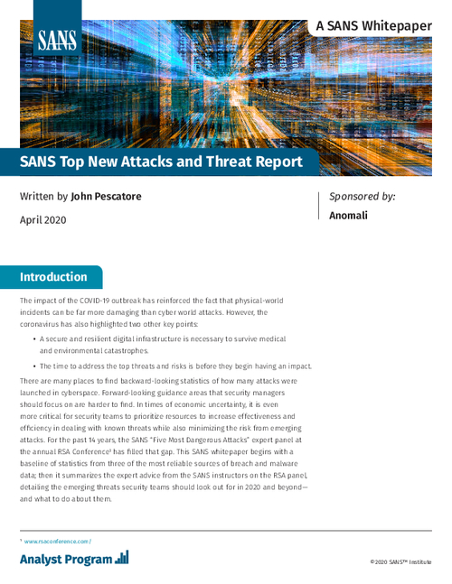 SANS 2020 Top New Attacks and Threat Report
