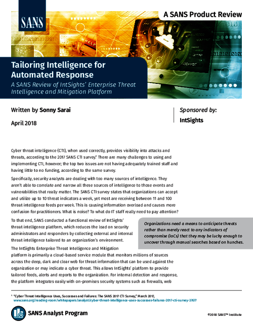SANS Report:  Tailoring Intelligence for Automated Response