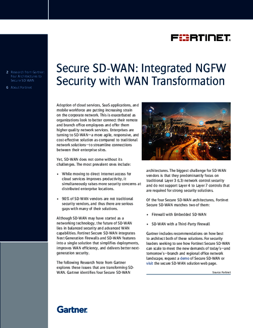 Gartner Report: Secure SD-Wan: Integrated NGFW Security With WAN Transformation