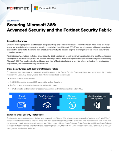 Securing Microsoft 365: Advanced Security and the Fortinet Security Fabric
