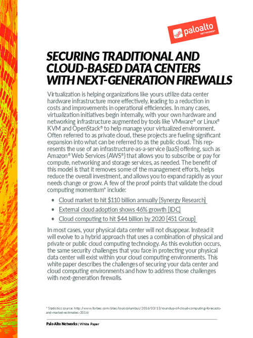 Securing Traditional and Cloud-Based Data Centers with Next-Generation Firewalls