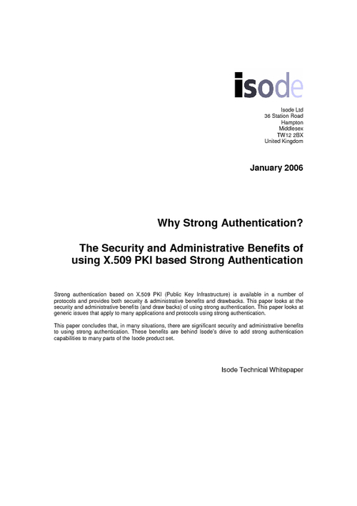 The Security and Administrative Benefits of using X.509 PKI based Strong Authentication