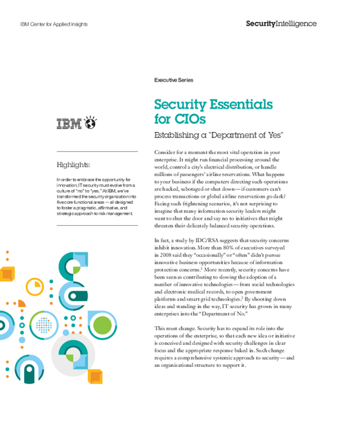 Security Essentials for CIO's: Establishing a Department of Yes