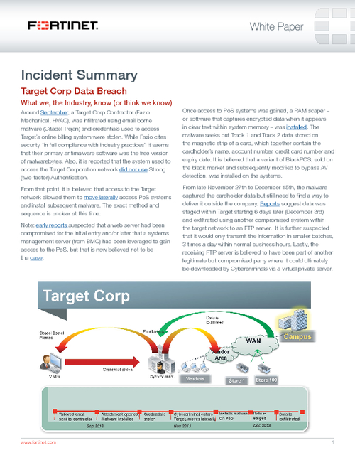 Incident Report Data Breach At Target Corporation