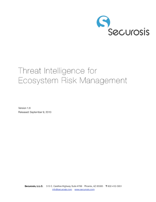 Securosis: Threat Intelligence for Ecosystem Risk Management