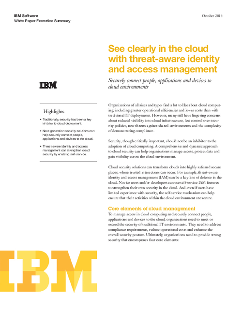 See Clearly in the Cloud with Threat-Aware Identity and Access Management