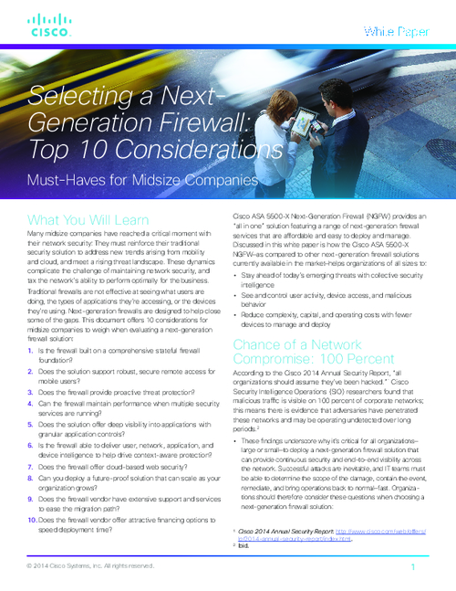 Selecting a Next-Generation Firewall: Top 10 Considerations