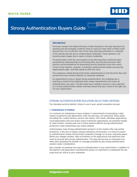 Selecting Strong Authentication Systems