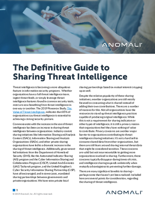 Sharing Threat Intelligence: An Important Component In Information Security Defense