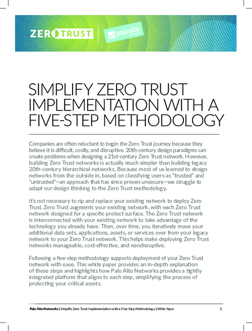 Simplify Zero Trust Implementation Using A Five-Step Methodology