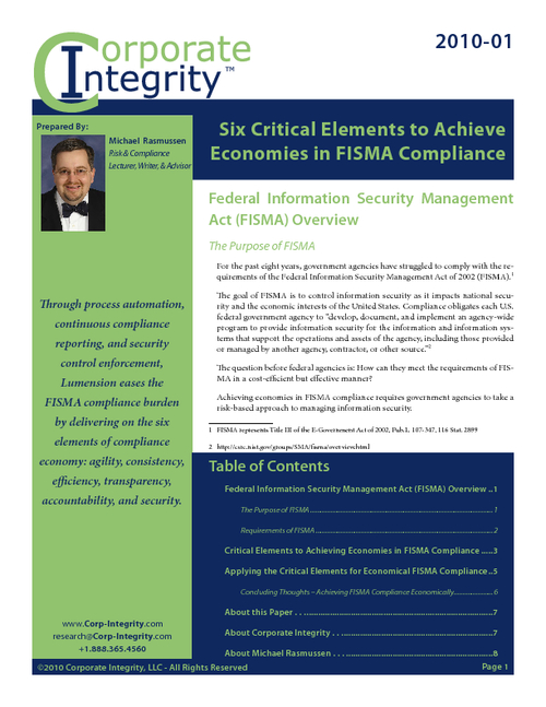 Six Critical Elements to Achieve Economies in FISMA Compliance