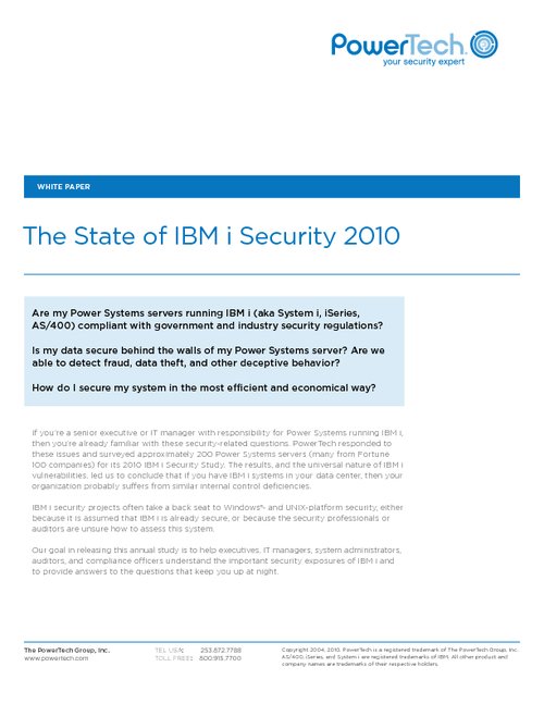 The State of IBM i Security 2010