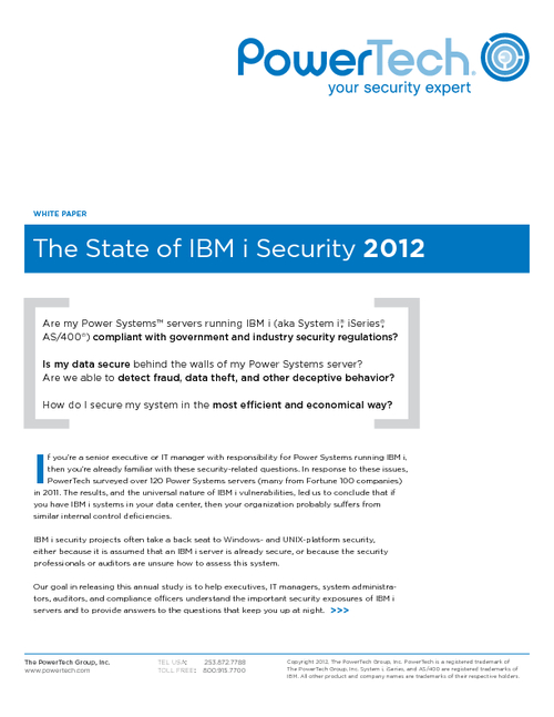 The State of IBM i Security Study 2012