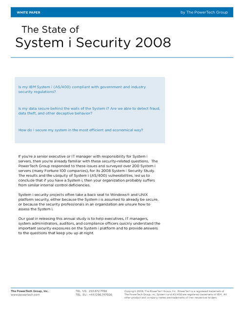 The State of System i (AS/400) Security: System Audit Study