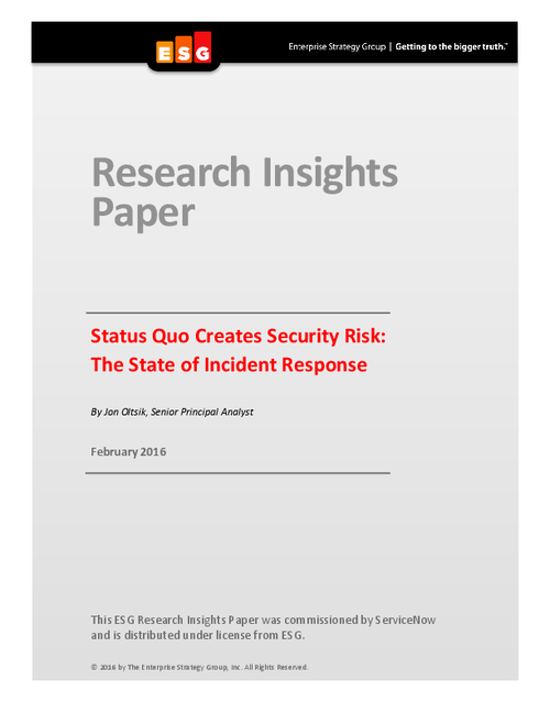 Status Quo Creates Security Risks: The State of Incident Response
