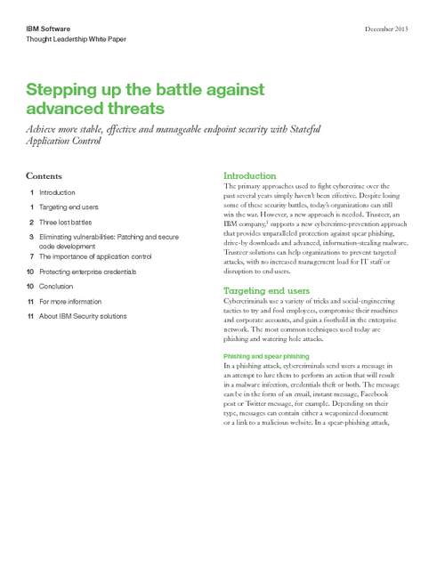 Stepping up the Battle Against Advanced Threats