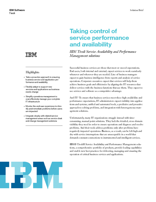 Taking Control of Service Performance and Availability