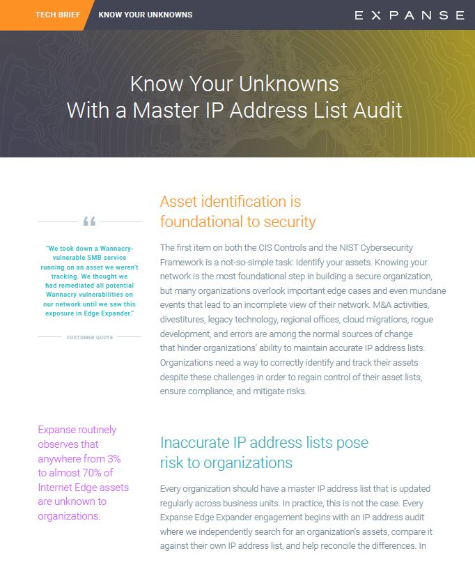 Tech Brief: Know Your Unknowns With a Master IP Address List Audit