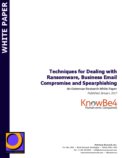 Techniques for Dealing with Ransomware, Business Email Compromise, and Spearphishing