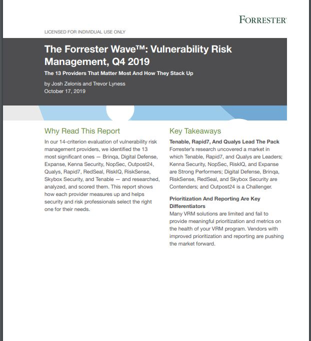 TENABLE IS A LEADER IN THE FORRESTER WAVE