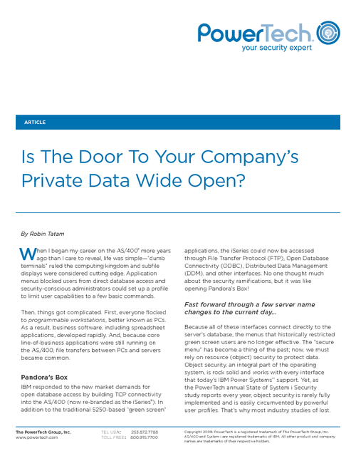 Is The Door To Your Company's Private Data Wide Open?